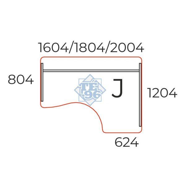 GI-160/120-J  L alakú számítógépes munkaasztal laplábbal, 160 x 120 cm-es méretben