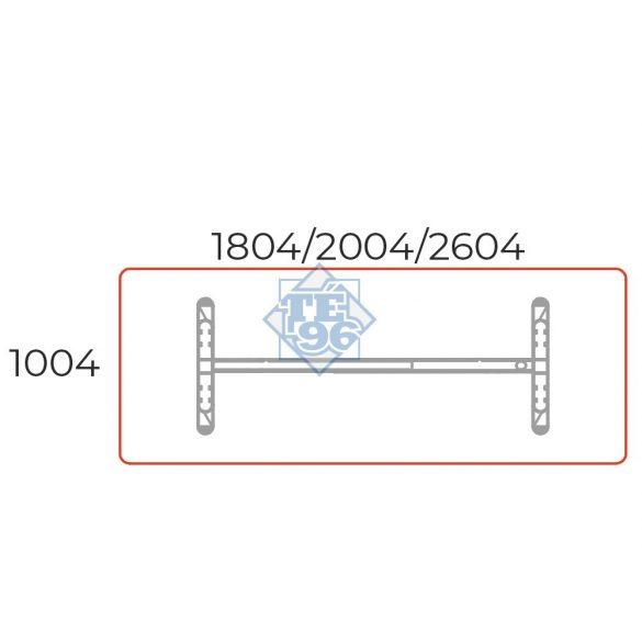 TA-200/100-K-LUX Tárgyalóasztal kerekített sarkokkal és LUX fémlábbal