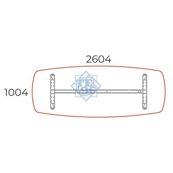 TSZ-260/100-LUX Tárgyalóasztal íves oldalakkal és LUX fémlábbal, 260 x 100 cm-es méretben