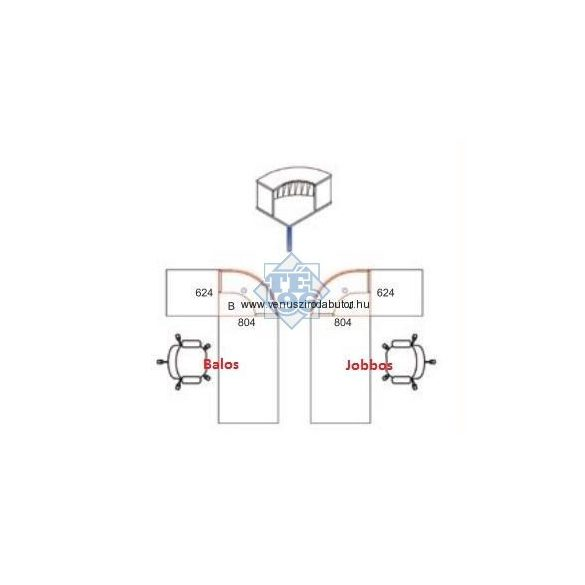 RP-AVA-200/160 fémlábas recepcióspult (200 x 160 cm-es)