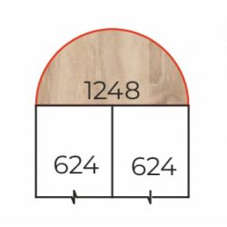 HE-62/180 Félköríves tárgyalótoldat fém csőlábbal
