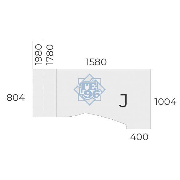 """EX-HA-158/100-J-FL2   """"L"""" alakú operatív asztal FL2 fémlábbal, jobbos kivitelben, 158 x 100 cm-es méretben"""