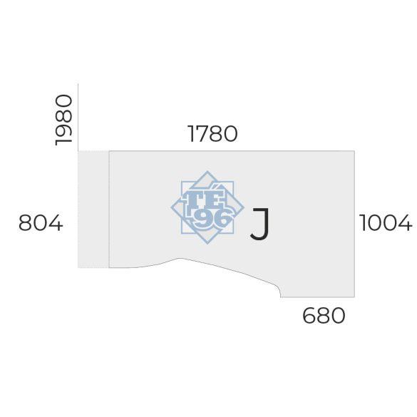 """EX-HB-198/100-J-FL2   """"L"""" alakú operatív asztal FL2 fémlábbal, jobbos kivitelben, 198 x 100 cm-es méretben"""