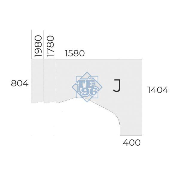 """EX-HE-198/140-J-FL2   """"L"""" alakú operatív asztal FL2 fémlábbal, jobbos kivitelben, 198 x 140 cm-es méretben"""