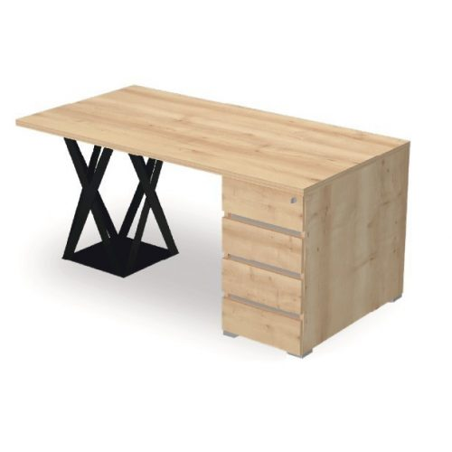 EX-IS-198/80-FL8  Exkluzív megjelenésű íróasztal négyfiókos, záras konténerre és FL8 fémlábbal, 198 x 80 cm-es méretben