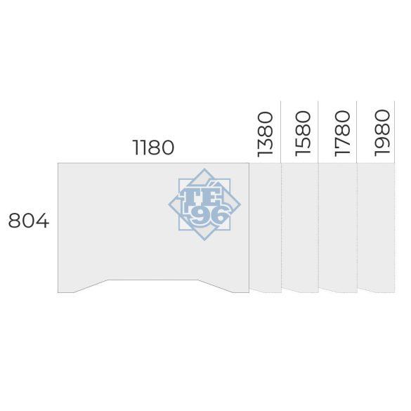 EX-IZ-138/80-FL6   Sarkos íróasztal belsőoldali kivágással, magasságban állítható FL6 fémlábbal