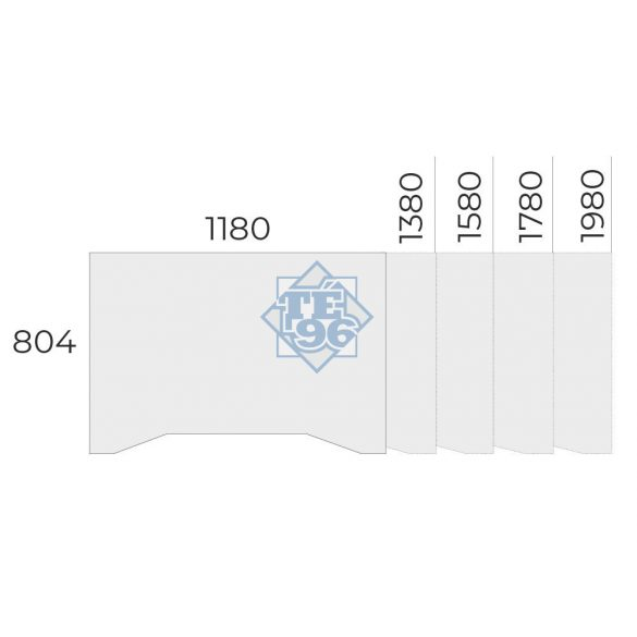 EX-IZ-178/80-FL2   Sarkos asztal belső kivágással FL2 fémlábbal, 178 x 100 cm-es méretben