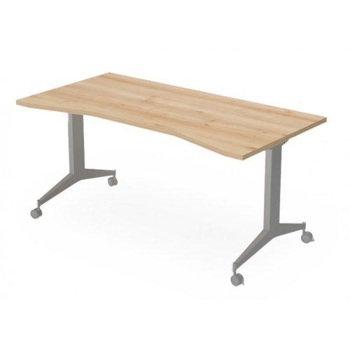 EX-IZ-198/80-FL9  Görgős lábszerkezetű íróasztal belsőoldali íves kiképzéssel és FL9 fémlábbal, 198 x 80 cm-es méretben