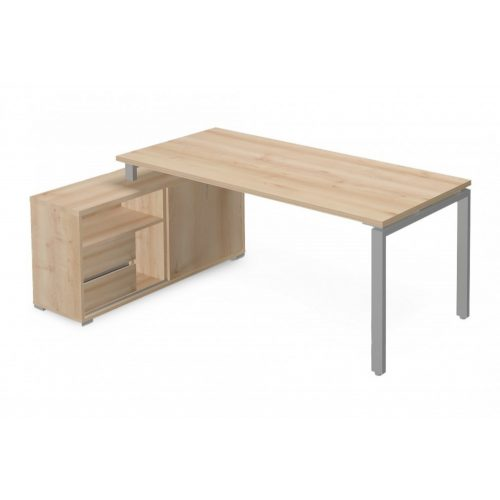 EX-KOM-158-B-FL1  Vezetői íróasztal szögletes kivitelben FL1 fémlábbal, tolóajtós-polcos kialakítással és 175 x 126 cm-es méretben, balos