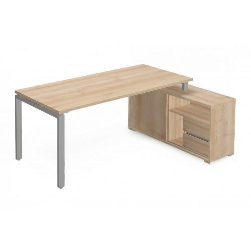 EX-KOM-158-J-FL1  Vezetői íróasztal szögletes kivitelben FL1 fémlábbal, tolóajtós-polcos kialakítással és 175 x 126 cm-es méretben, jobbos