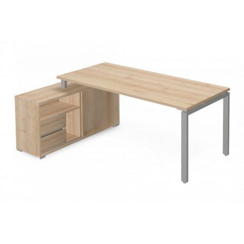 EX-KOM-198-B-FL1  Vezetői íróasztal szögletes kivitelben FL1 fémlábbal, tolóajtós-polcos kialakítással és 2150 x 126 cm-es méretben, balos