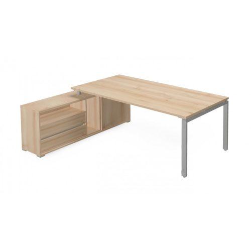 EX-KOM2-198-B-FL1  Vezetői íróasztal szögletes kivitelben FL1 fémlábbal, tolóajtós-polcos kialakítással és 215 x 173 cm-es méretben, balos