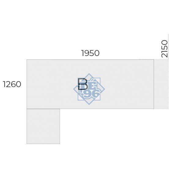 EX-KOM2-198-B-FL2   Vezetői munkahely tolóajtós-fiókos toldattal, FL2 fémlábbal