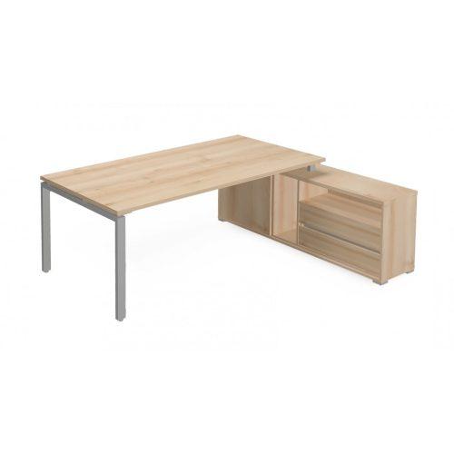 EX-KOM2-198-J-FL1  Vezetői íróasztal szögletes kivitelben FL1 fémlábbal, tolóajtós-polcos kialakítással és 215 x 173 cm-es méretben, jobbos