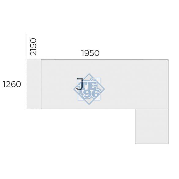 EX-KOM2-198-J-FL2   Vezetői munkahely tolóajtós-fiókos toldattal, FL2 fémlábbal