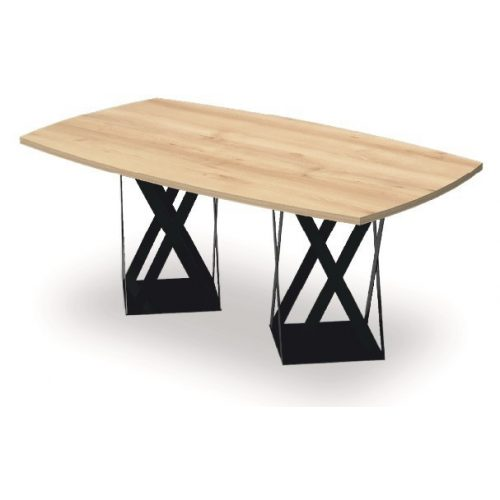 EX-TB-178/100-FL8  Elegáns megjelenésű tárgyalóasztal ívszegmens oldalakkal és FL8 fémlábbal, 178 x 100 cm-es méretben