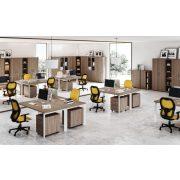 """GA-200/120-B-TR L"""" alakú operatív íróasztal Trend fémlábbal balos kivitelben 200x x120 cm-es méretben"""