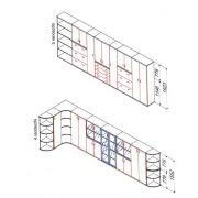 111-2A-2F-REG Három rendező magas ajtós-regiszterfiókos szekrény