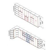 111-RED-80-B Három rendező magas redőnyös szekrény 80 cm szélességgel, balos