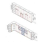 153-1A-B   Négy rendező magas egyajtós félszekrény A/4 méretű dossziékhez illeszkedő polcosztással,, balos kivitelben