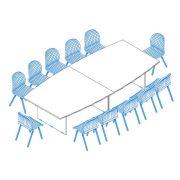 TA-350/160-S  Nagyméretű tárgyalóasztal ívszegmens oldalakkal és laplábbal,