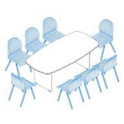 TSZ-200/100 tárgyalóasztal íves oldalakkal, 200 x 100 cm-es méretben