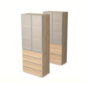 Fiókos, regiszterfiókos és alukeretes üvegajtós szekrények