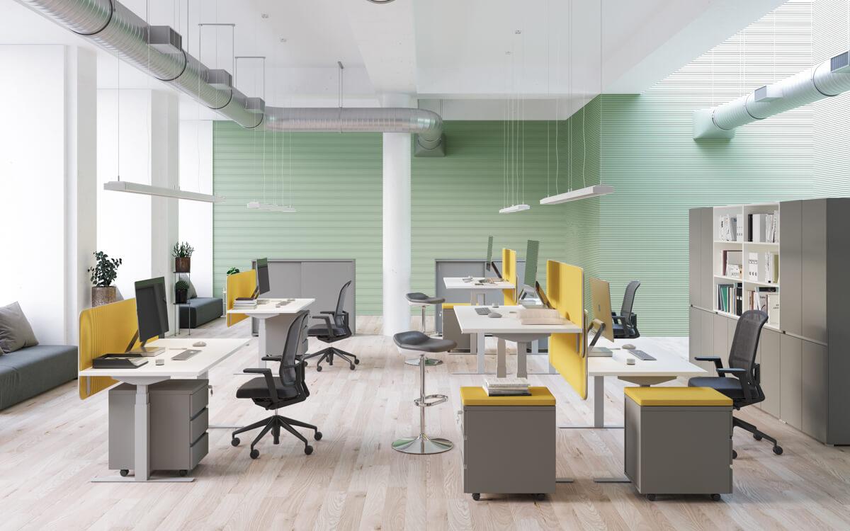 Elektromos magasságállítású irodai asztalok FL-10 fémlábbal