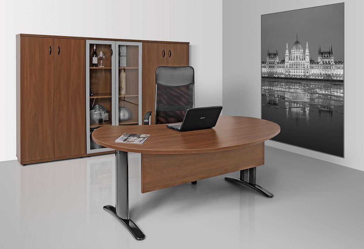 LUX fémlábas vezetői íróasztal íves kialakítással