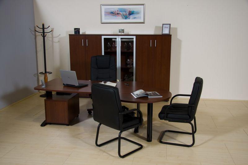 LUX fémlábas íróasztal 3/4-es tárgyalótoldattal