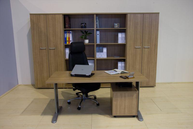 LUX íróasztal ajtós - nyitott polcos szekrényekkel