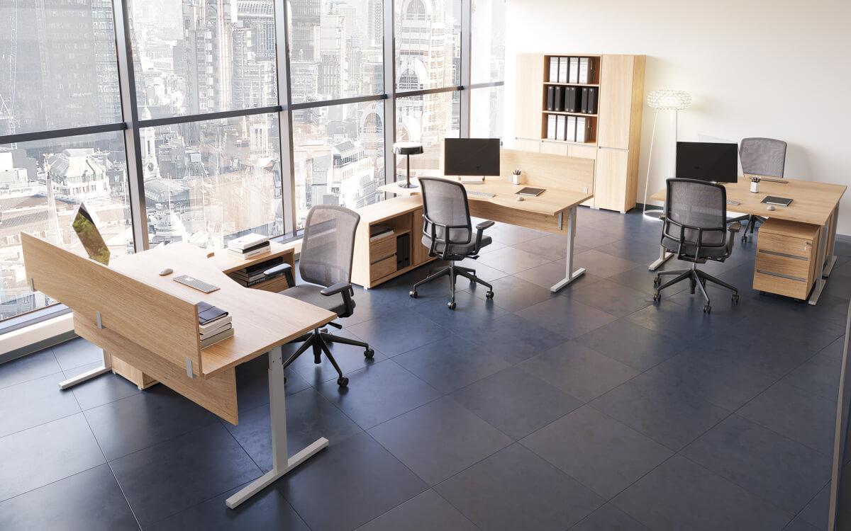 Elektromosan állítható fémlábas íróasztal család