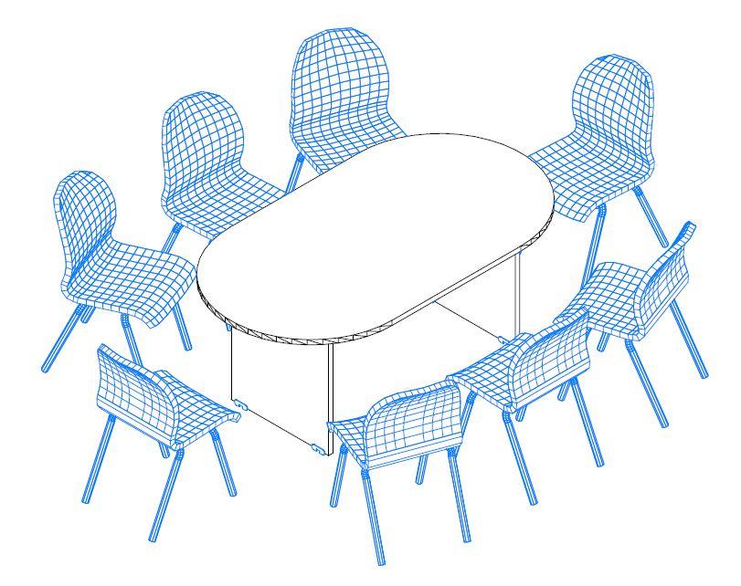 TA-180/100-O ovális tárgyalóasztal laplábbal a Vénusz irodabútor családból