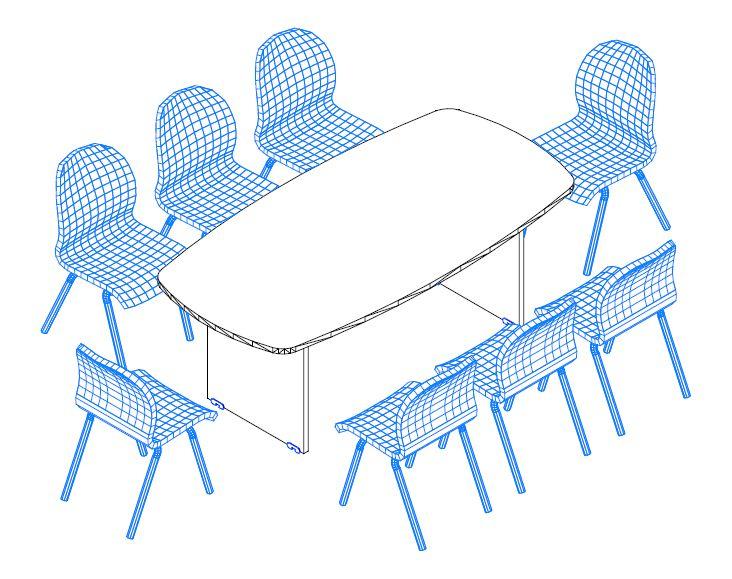 TSZ-200/100 laplábas tárgyalóasztal ívszegmens oldalakkal a Vénusz irodabútorokból