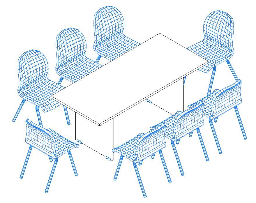 8 fős tárgyalóasztal sarkos kivitelben, laplábbal