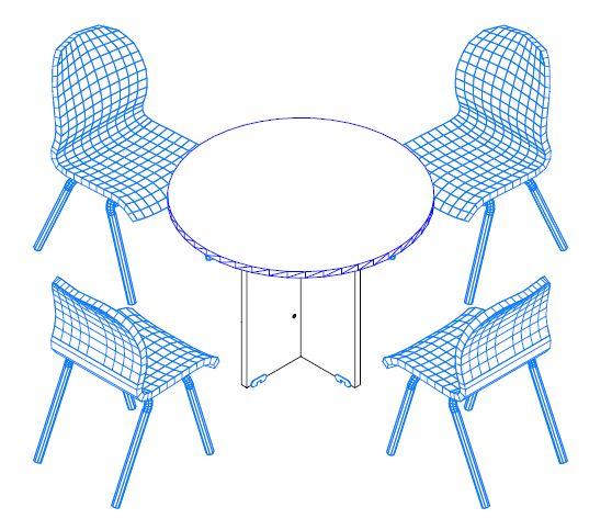 Kisméretű kerek tárgyalóasztal laplábbal, 4 főnek