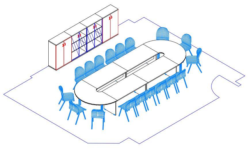 Tárgyaló berendezése nagyméretű tárgyalóasztallal