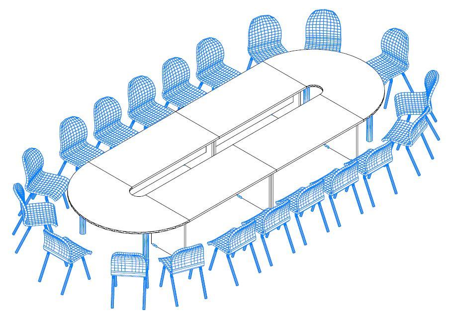 TA-506/185 nagyméretű tárgyalóasztal laplábbal