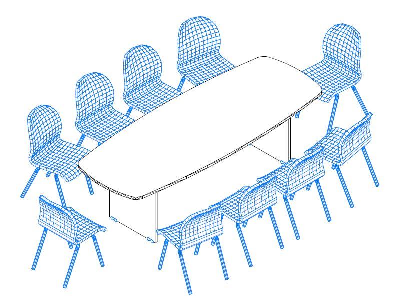 TSZ-260/100 ívszegmens oldalú tárgyalóasztal