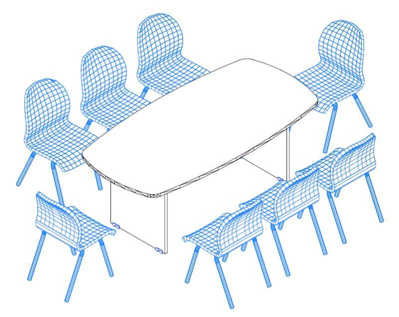 TSZ-200/100 ívszegmens oldalú tárgyalóasztal