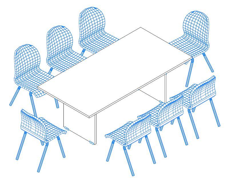 TA-200/100-S szögletes tárgyalóasztal laplábbal